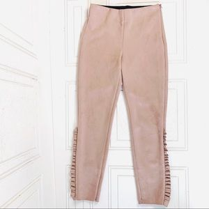 Zara Faux leather suede stretch pants in pink